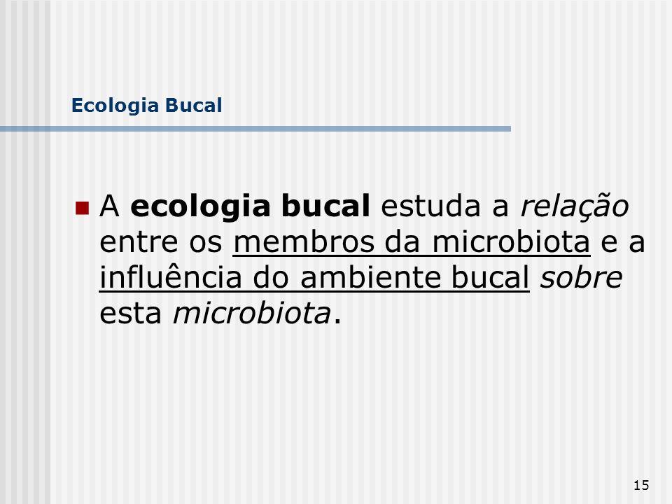 Ecologia Bucal A ecologia bucal estuda a relação entre os membros da microbiota e a influência do ambiente bucal sobre esta microbiota.
