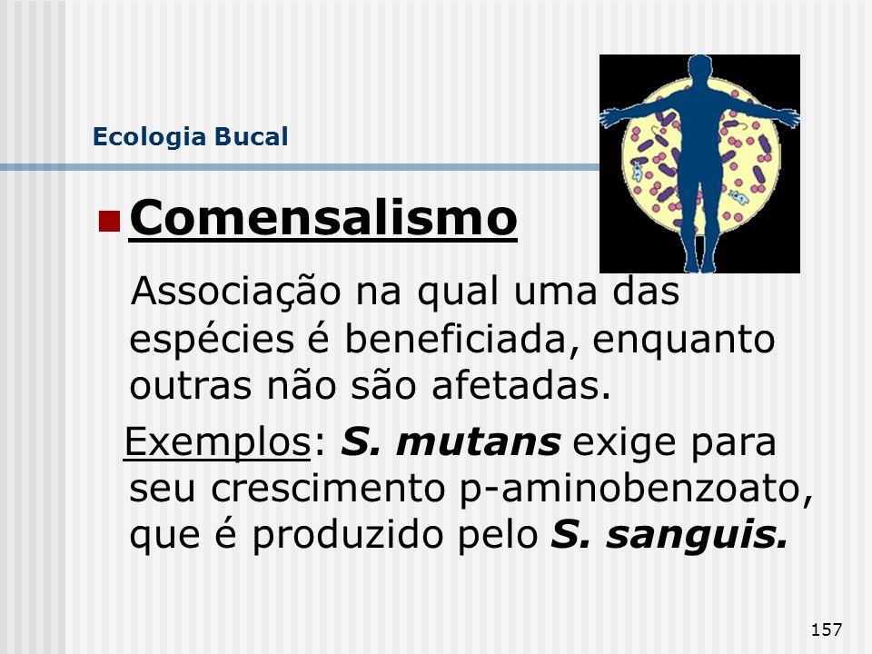 Ecologia Bucal Comensalismo. Associação na qual uma das espécies é beneficiada, enquanto outras não são afetadas.