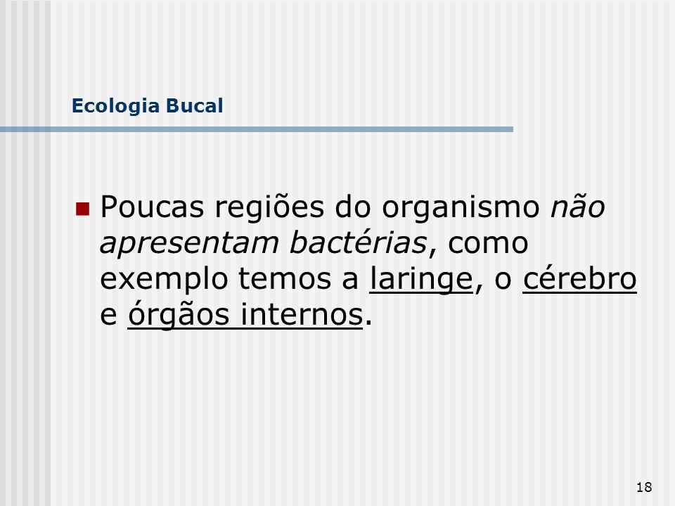 Ecologia Bucal Poucas regiões do organismo não apresentam bactérias, como exemplo temos a laringe, o cérebro e órgãos internos.