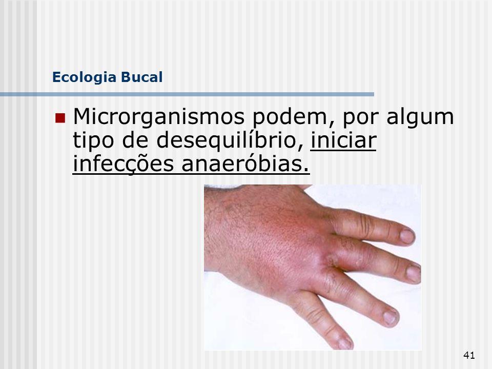 Ecologia Bucal Microrganismos podem, por algum tipo de desequilíbrio, iniciar infecções anaeróbias.