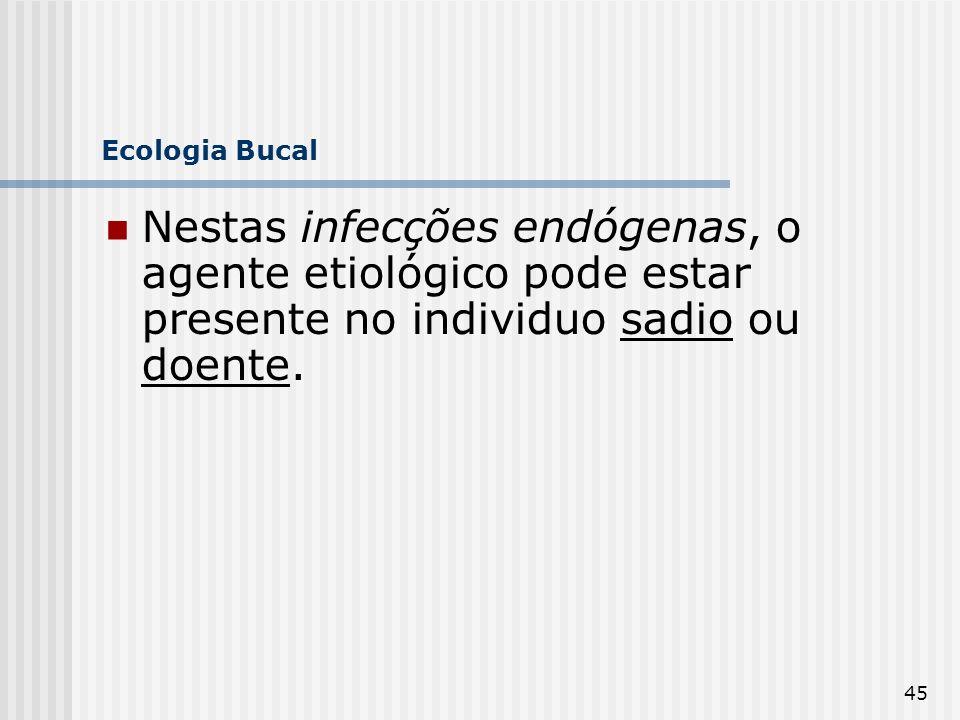 Ecologia Bucal Nestas infecções endógenas, o agente etiológico pode estar presente no individuo sadio ou doente.