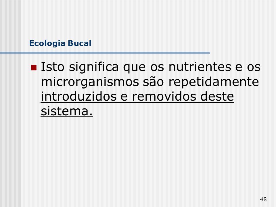 Ecologia Bucal Isto significa que os nutrientes e os microrganismos são repetidamente introduzidos e removidos deste sistema.