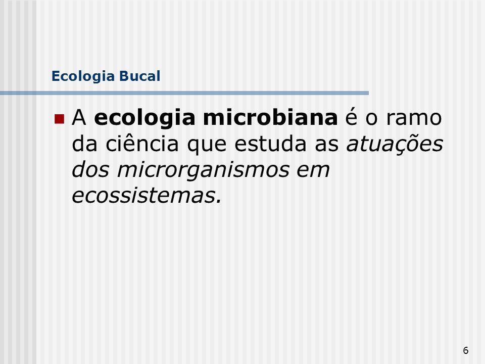 Ecologia Bucal A ecologia microbiana é o ramo da ciência que estuda as atuações dos microrganismos em ecossistemas.