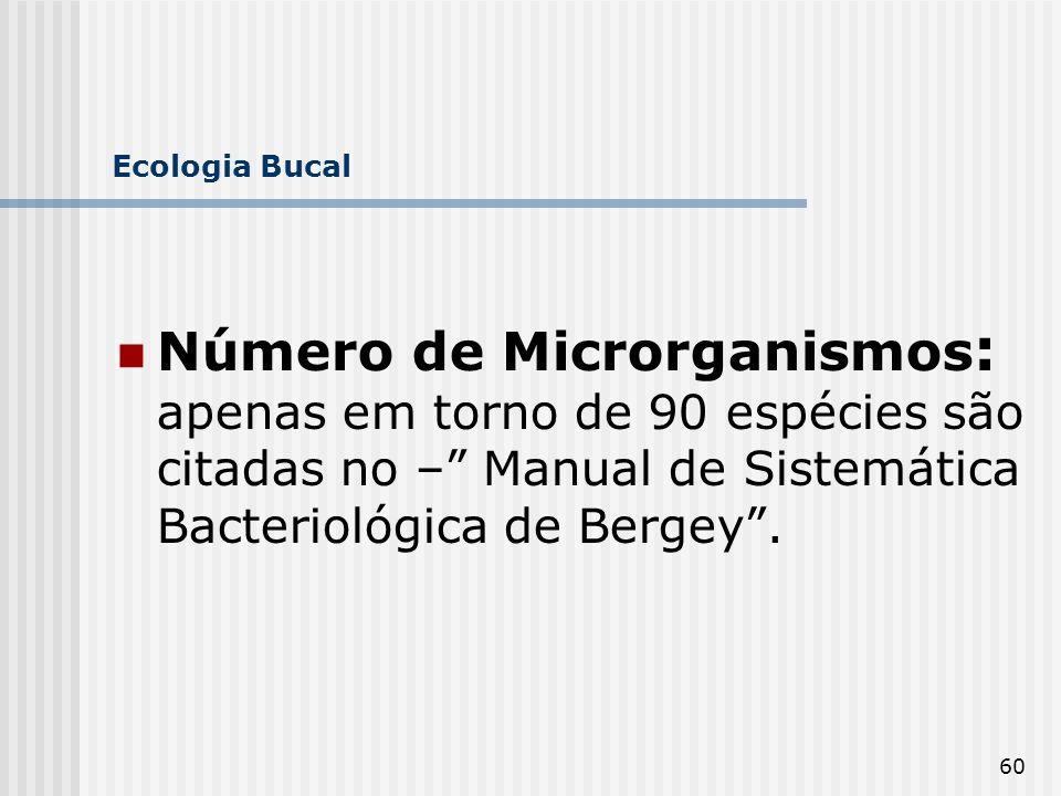 Ecologia Bucal Número de Microrganismos: apenas em torno de 90 espécies são citadas no – Manual de Sistemática Bacteriológica de Bergey .