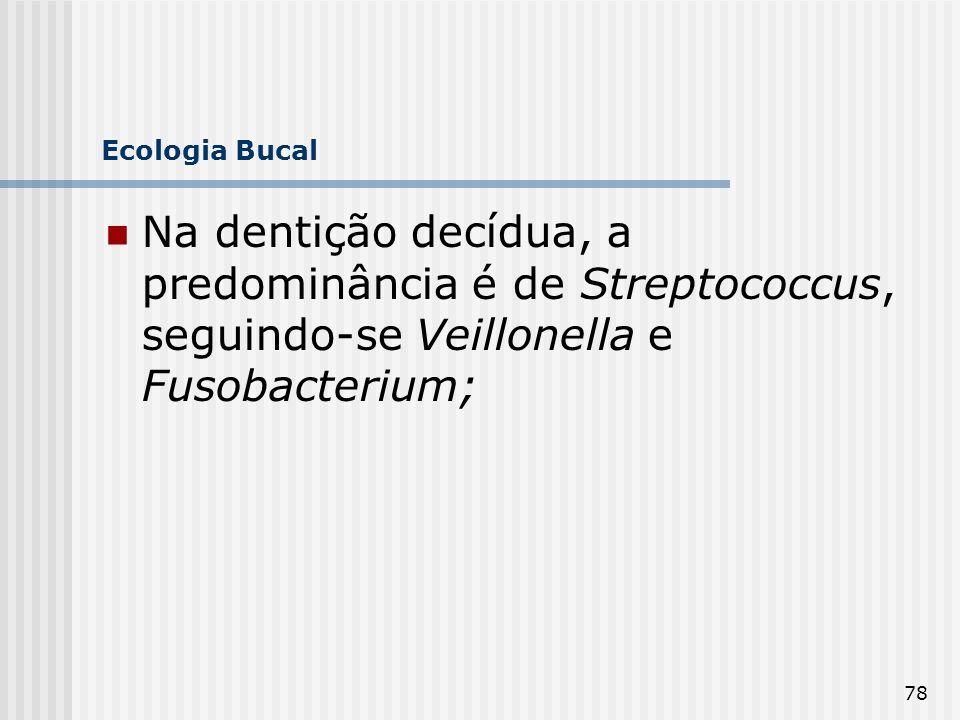 Ecologia Bucal Na dentição decídua, a predominância é de Streptococcus, seguindo-se Veillonella e Fusobacterium;