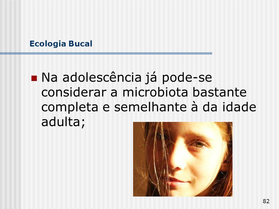 Ecologia Bucal Na adolescência já pode-se considerar a microbiota bastante completa e semelhante à da idade adulta;