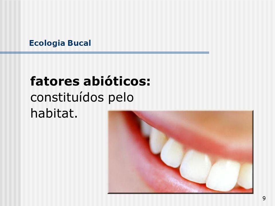 Ecologia Bucal fatores abióticos: constituídos pelo habitat.