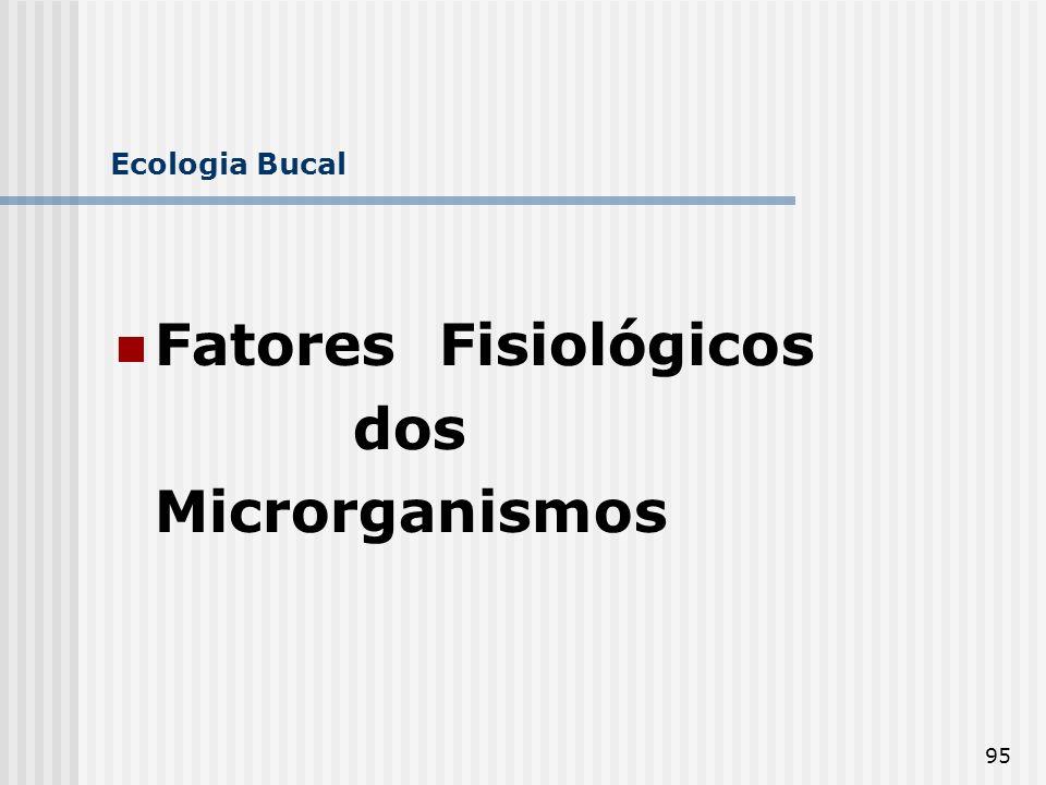 Ecologia Bucal Fatores Fisiológicos dos Microrganismos