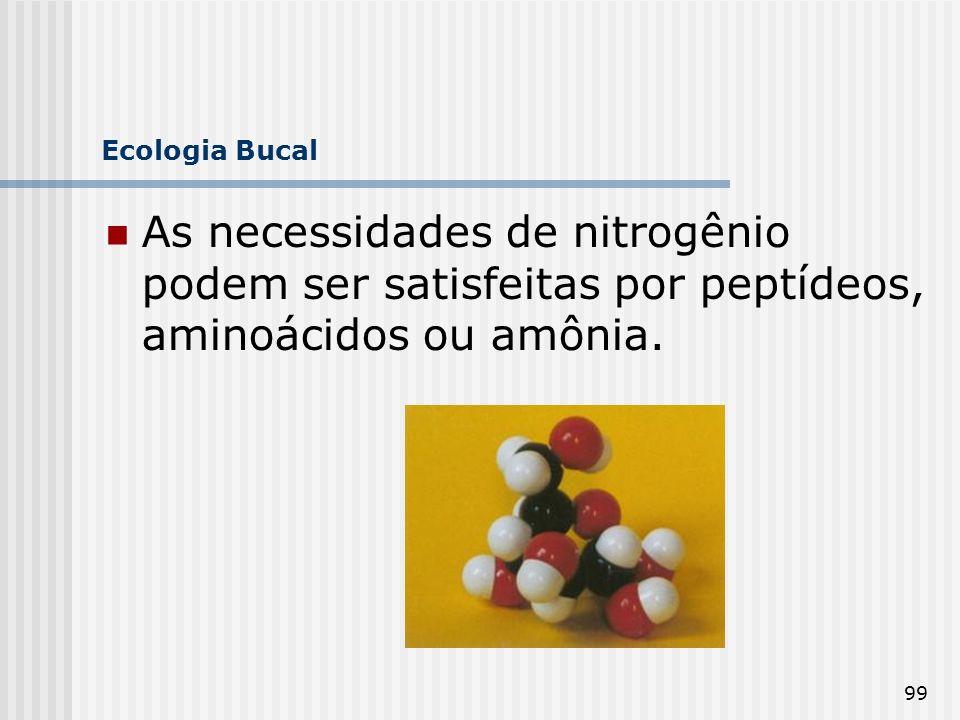 Ecologia Bucal As necessidades de nitrogênio podem ser satisfeitas por peptídeos, aminoácidos ou amônia.
