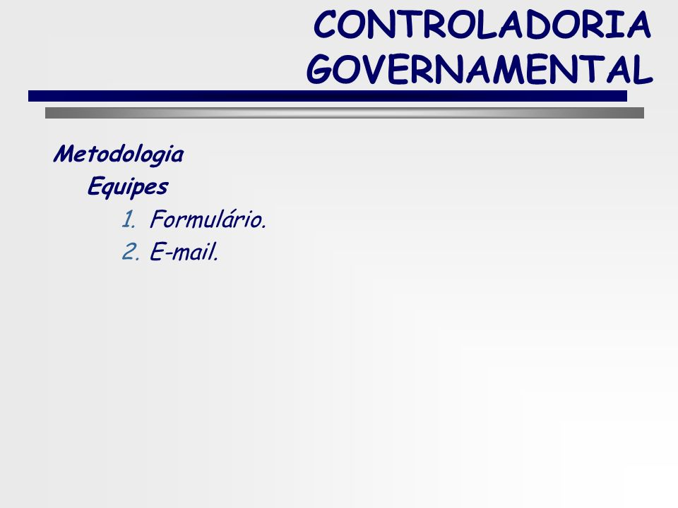 CONTROLADORIA GOVERNAMENTAL