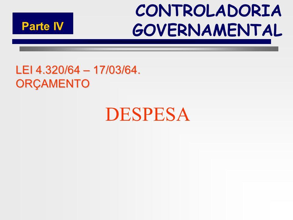 DESPESA CONTROLADORIA GOVERNAMENTAL Parte IV