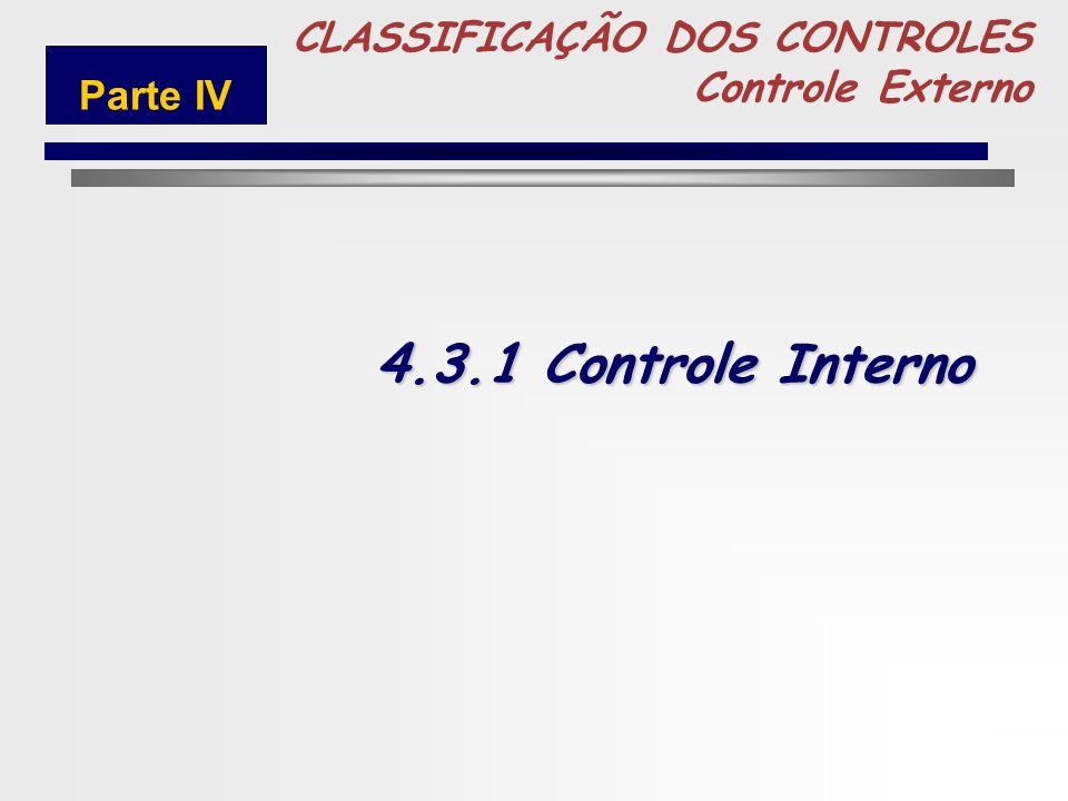 4.3.1 Controle Interno 5 CLASSIFICAÇÃO DOS CONTROLES Controle Externo