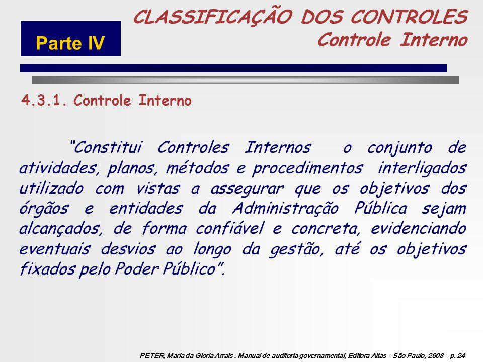 5 CLASSIFICAÇÃO DOS CONTROLES Controle Interno Parte IV