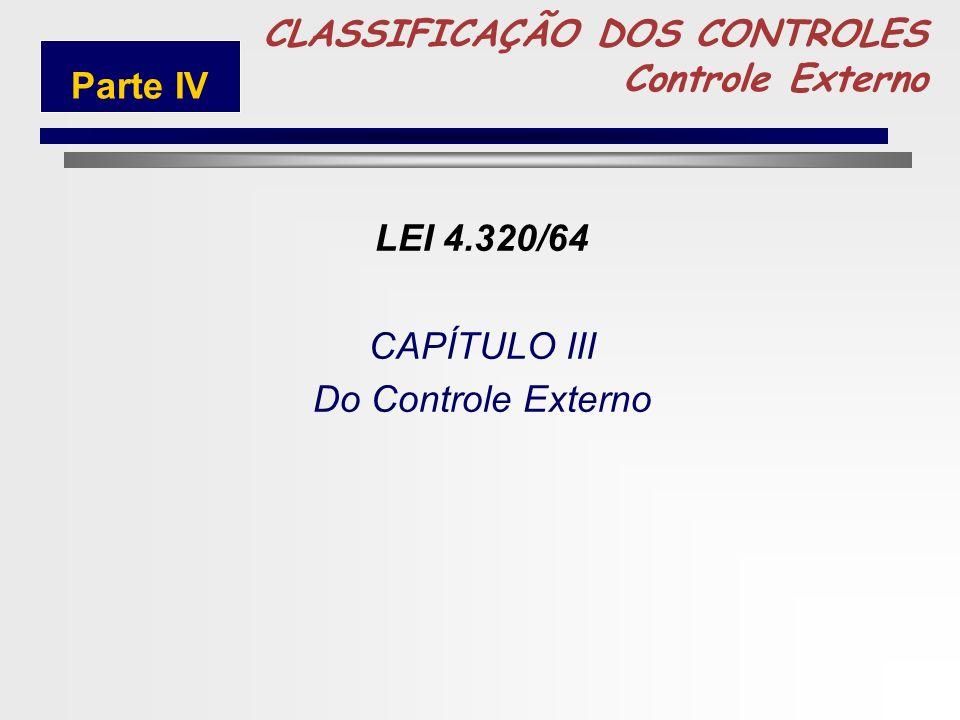 5 CLASSIFICAÇÃO DOS CONTROLES Controle Externo Parte IV LEI 4.320/64