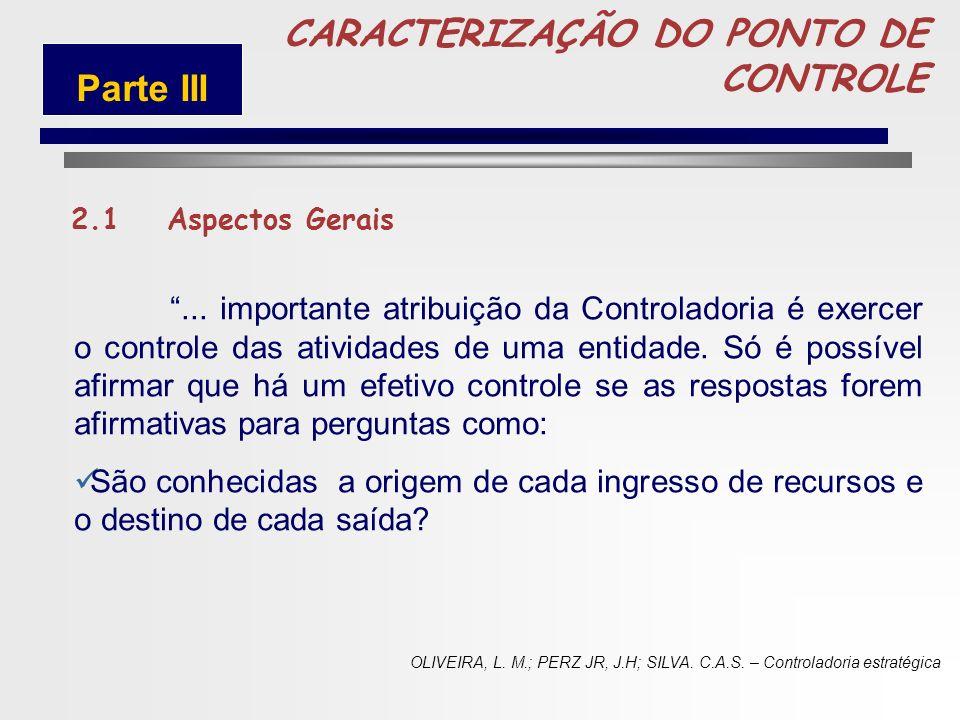 CARACTERIZAÇÃO DO PONTO DE CONTROLE Parte III