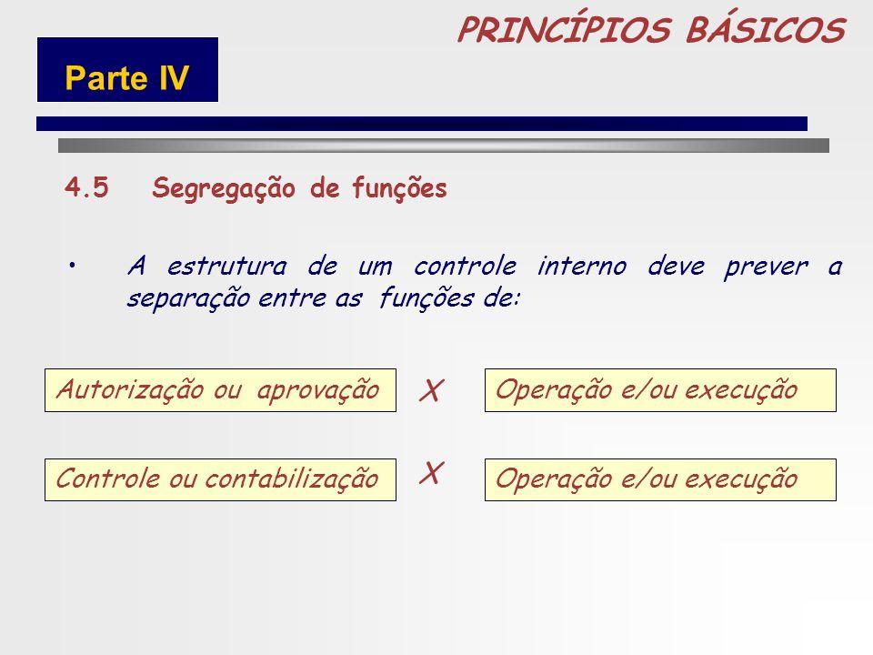 PRINCÍPIOS BÁSICOS Parte IV X X 4.5 Segregação de funções