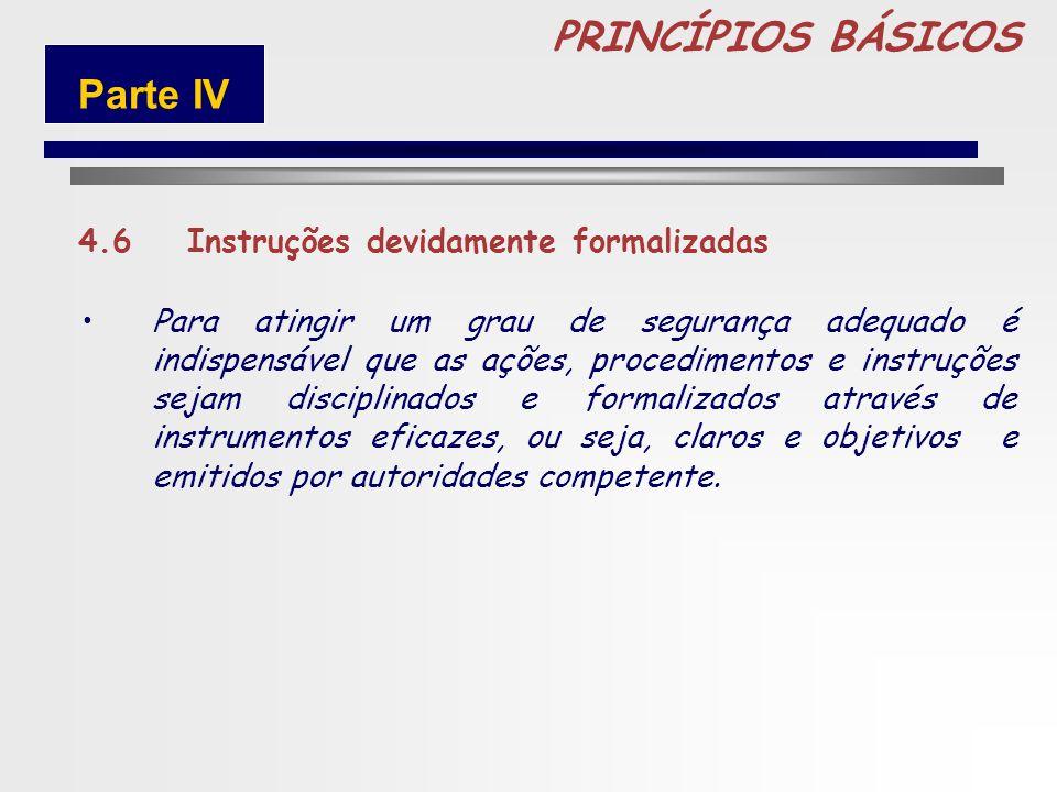 PRINCÍPIOS BÁSICOS Parte IV 4.6 Instruções devidamente formalizadas