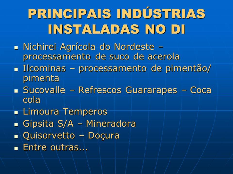 PRINCIPAIS INDÚSTRIAS INSTALADAS NO DI