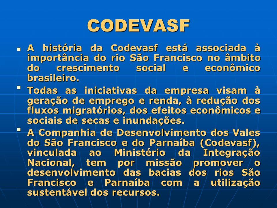 CODEVASF A história da Codevasf está associada à importância do rio São Francisco no âmbito do crescimento social e econômico brasileiro.