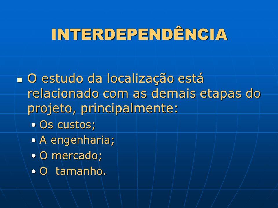 INTERDEPENDÊNCIAO estudo da localização está relacionado com as demais etapas do projeto, principalmente: