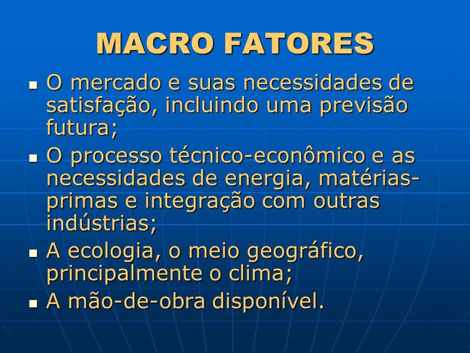 MACRO FATORES O mercado e suas necessidades de satisfação, incluindo uma previsão futura;