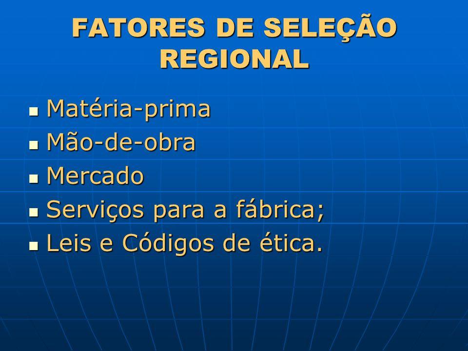 FATORES DE SELEÇÃO REGIONAL