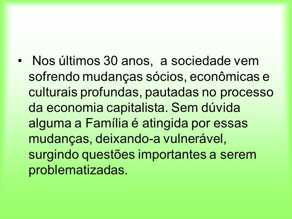 Nos últimos 30 anos, a sociedade vem sofrendo mudanças sócios, econômicas e culturais profundas, pautadas no processo da economia capitalista.
