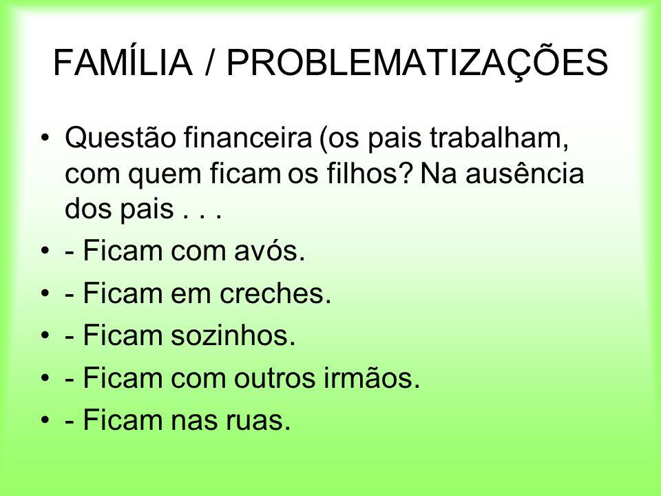 FAMÍLIA / PROBLEMATIZAÇÕES