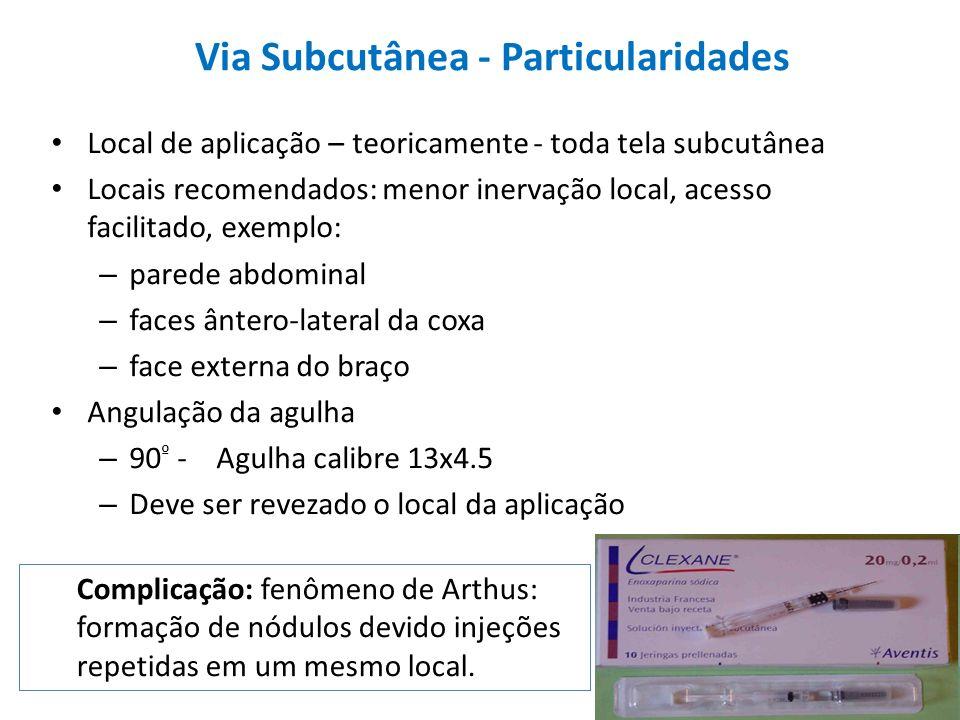 Via Subcutânea - Particularidades