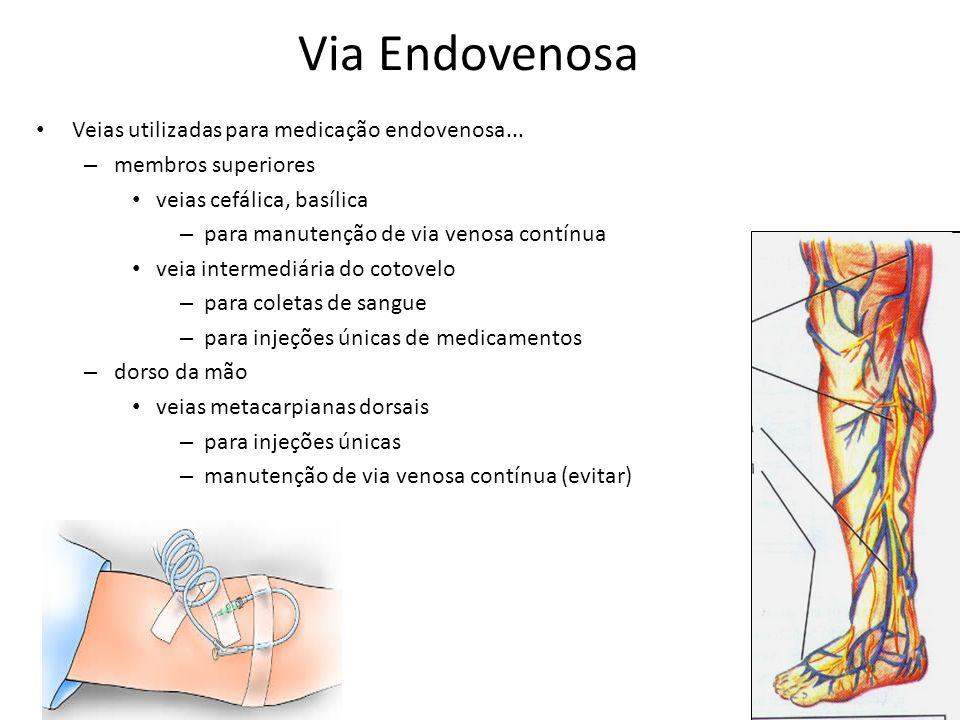 Via Endovenosa Veias utilizadas para medicação endovenosa...