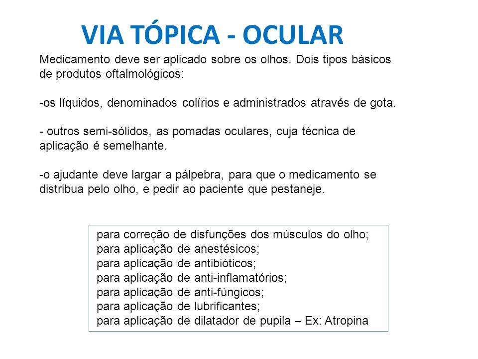 VIA TÓPICA - OCULAR Medicamento deve ser aplicado sobre os olhos. Dois tipos básicos de produtos oftalmológicos: