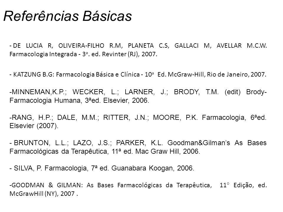 Referências Básicas DE LUCIA R, OLIVEIRA-FILHO R.M, PLANETA C.S, GALLACI M, AVELLAR M.C.W. Farmacologia Integrada - 3a. ed. Revinter (RJ), 2007.