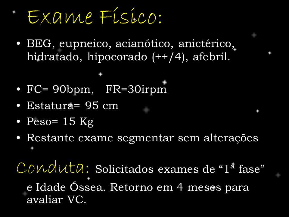 Exame Físico: BEG, eupneico, acianótico, anictérico, hidratado, hipocorado (++/4), afebril. FC= 90bpm, FR=30irpm.