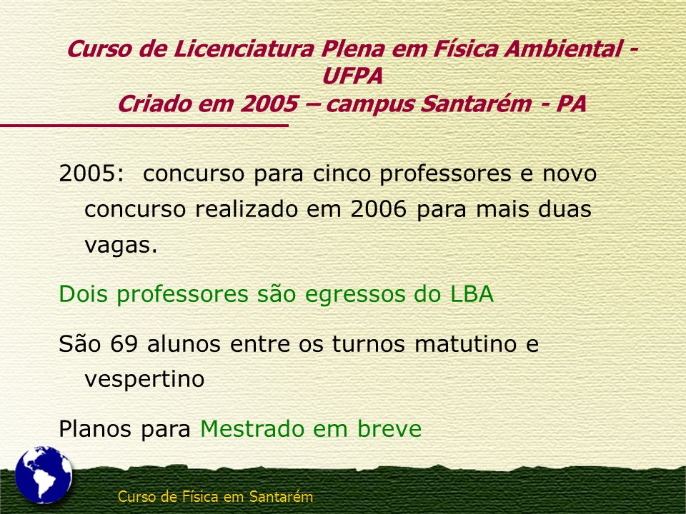 Curso de Licenciatura Plena em Física Ambiental - UFPA