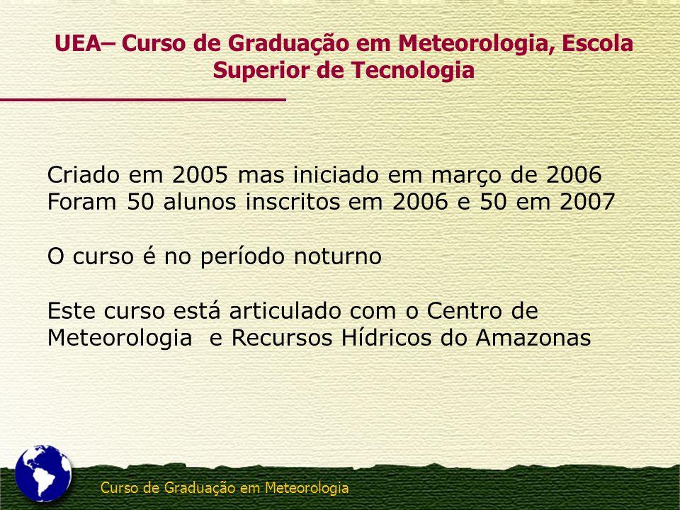 UEA– Curso de Graduação em Meteorologia, Escola Superior de Tecnologia