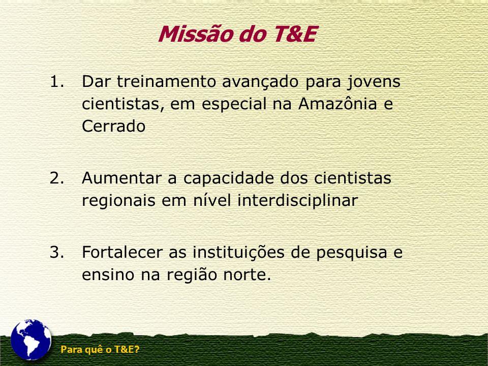 Missão do T&E Dar treinamento avançado para jovens cientistas, em especial na Amazônia e Cerrado.