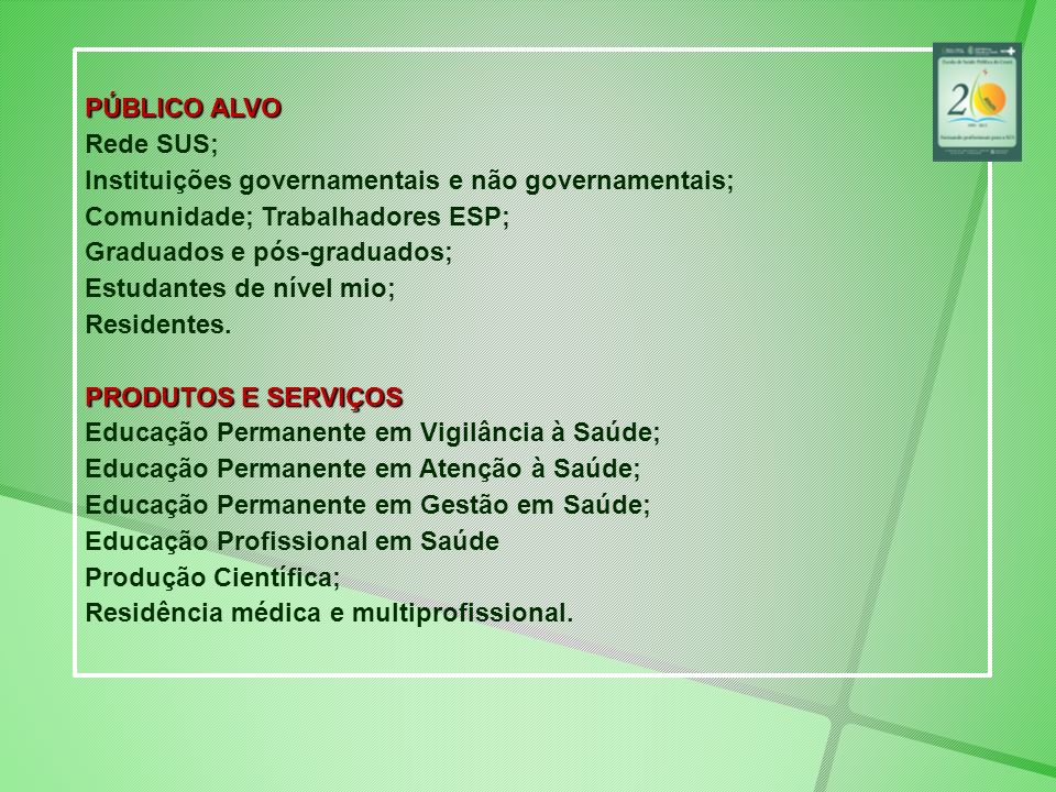 PÚBLICO ALVORede SUS; Instituições governamentais e não governamentais; Comunidade; Trabalhadores ESP;