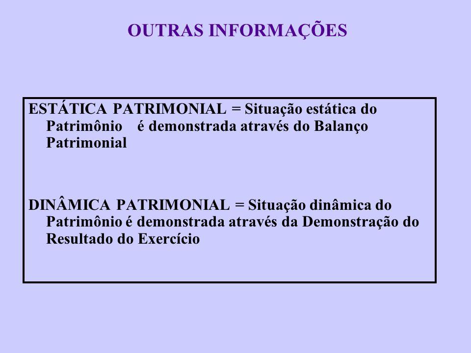 OUTRAS INFORMAÇÕES ESTÁTICA PATRIMONIAL = Situação estática do Patrimônio é demonstrada através do Balanço Patrimonial.