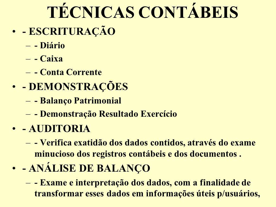 TÉCNICAS CONTÁBEIS - ESCRITURAÇÃO - DEMONSTRAÇÕES - AUDITORIA