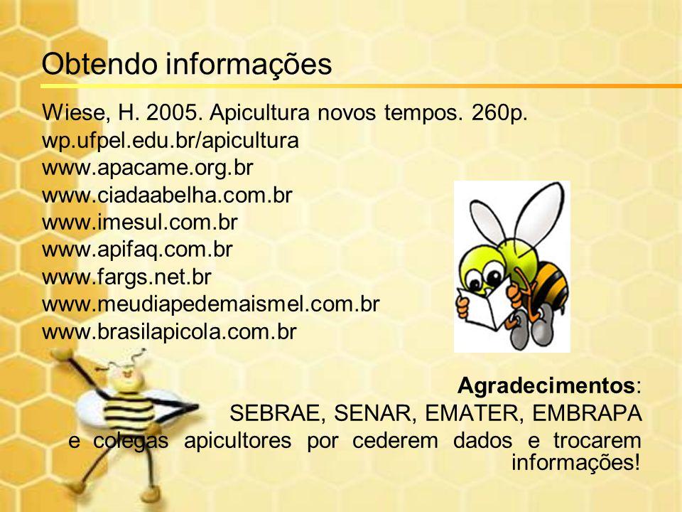 Obtendo informações Wiese, H. 2005. Apicultura novos tempos. 260p.