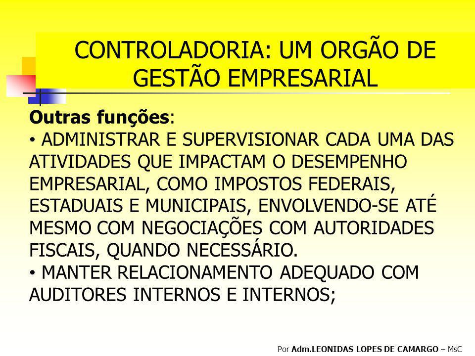 CONTROLADORIA: UM ORGÃO DE GESTÃO EMPRESARIAL