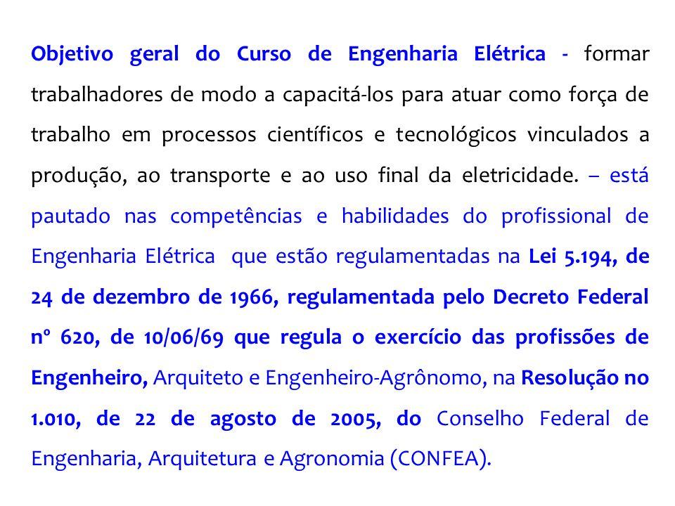 Objetivo geral do Curso de Engenharia Elétrica - formar trabalhadores de modo a capacitá-los para atuar como força de trabalho em processos científicos e tecnológicos vinculados a produção, ao transporte e ao uso final da eletricidade.