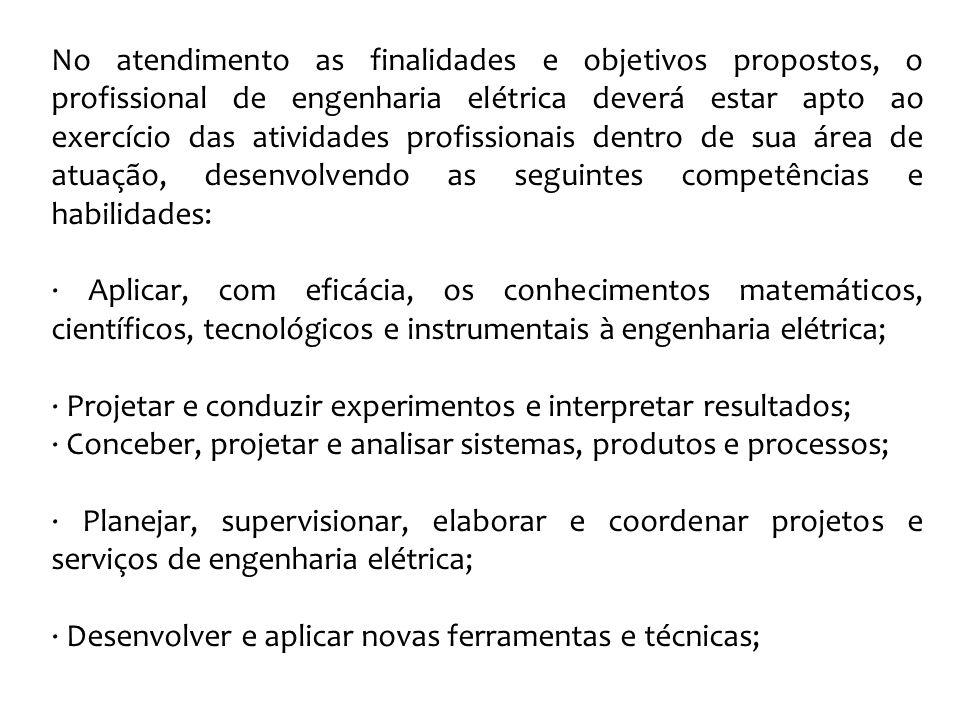 No atendimento as finalidades e objetivos propostos, o profissional de engenharia elétrica deverá estar apto ao exercício das atividades profissionais dentro de sua área de atuação, desenvolvendo as seguintes competências e habilidades:
