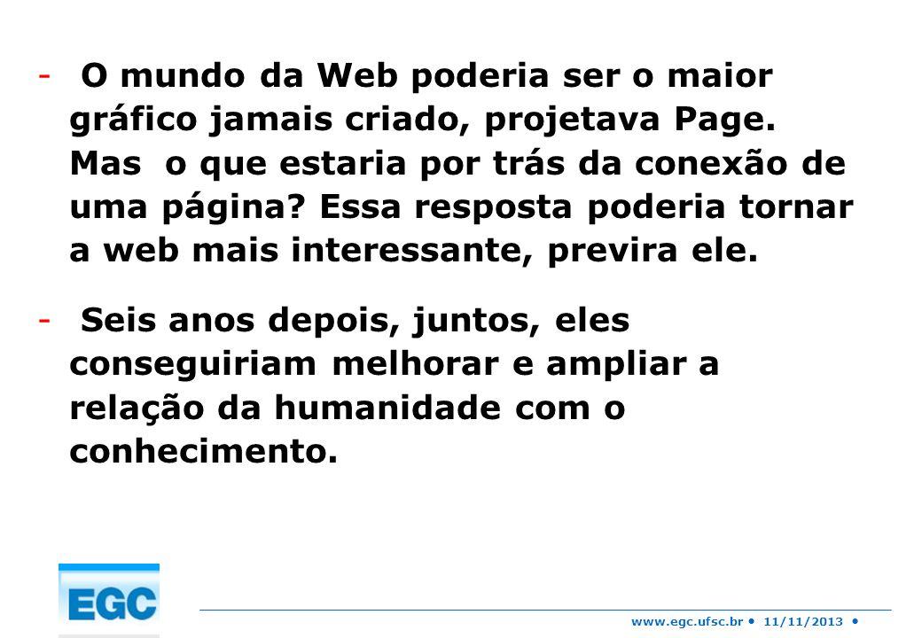 O mundo da Web poderia ser o maior gráfico jamais criado, projetava Page. Mas o que estaria por trás da conexão de uma página Essa resposta poderia tornar a web mais interessante, previra ele.