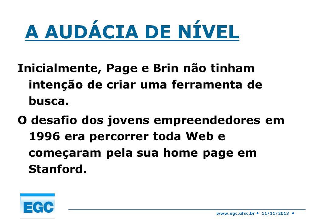 A AUDÁCIA DE NÍVEL Inicialmente, Page e Brin não tinham intenção de criar uma ferramenta de busca.