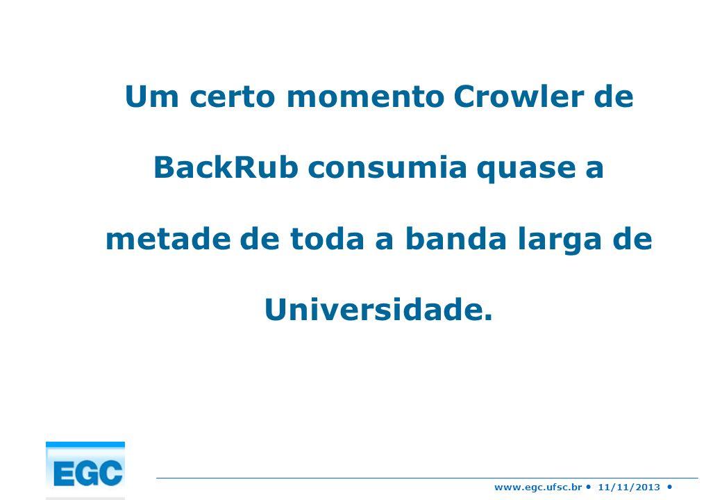 Um certo momento Crowler de BackRub consumia quase a metade de toda a banda larga de Universidade.