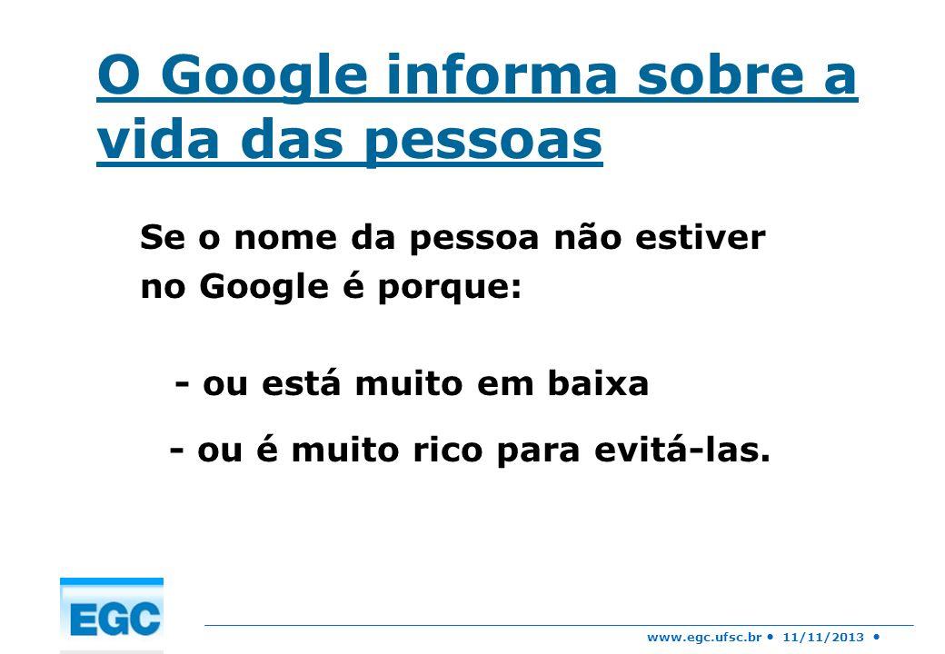 O Google informa sobre a vida das pessoas