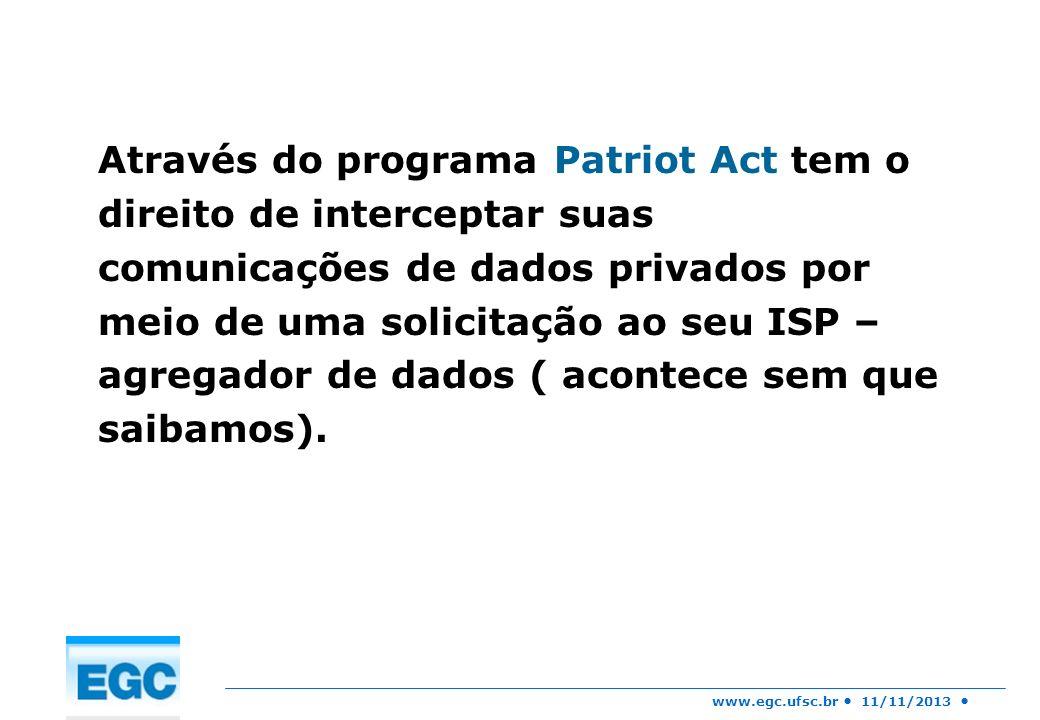 Através do programa Patriot Act tem o direito de interceptar suas comunicações de dados privados por meio de uma solicitação ao seu ISP – agregador de dados ( acontece sem que saibamos).