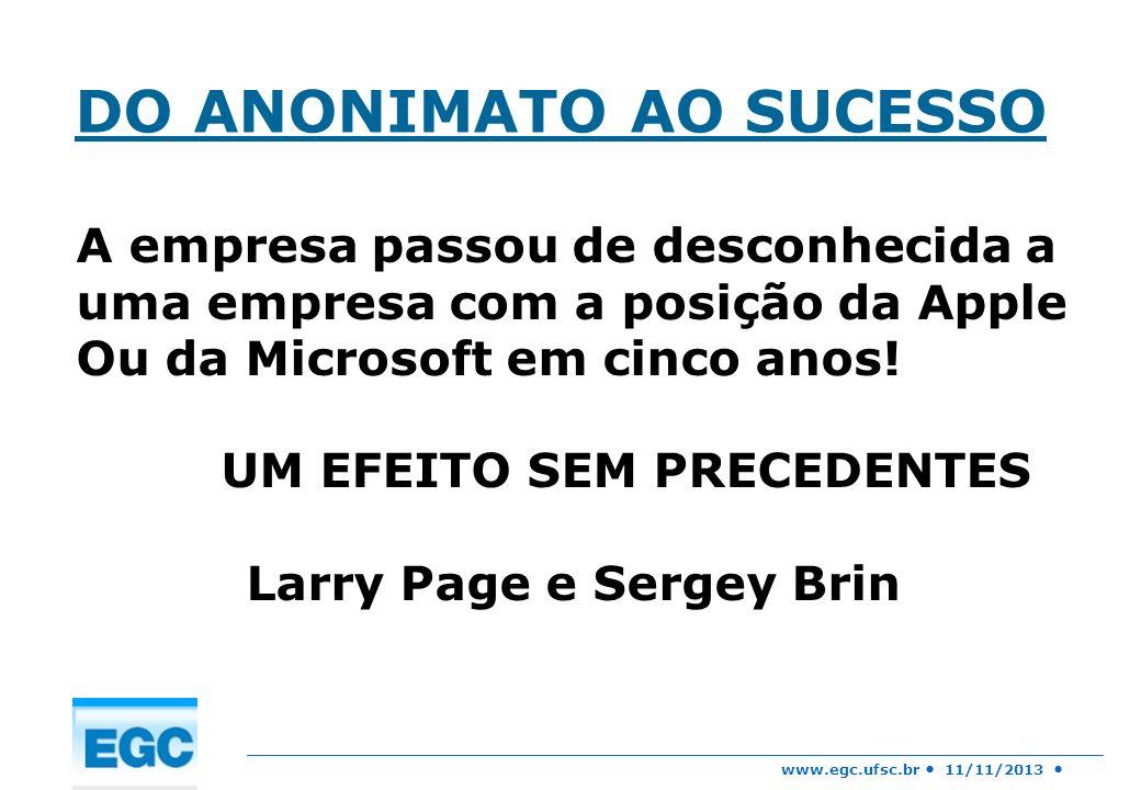 UM EFEITO SEM PRECEDENTES Larry Page e Sergey Brin