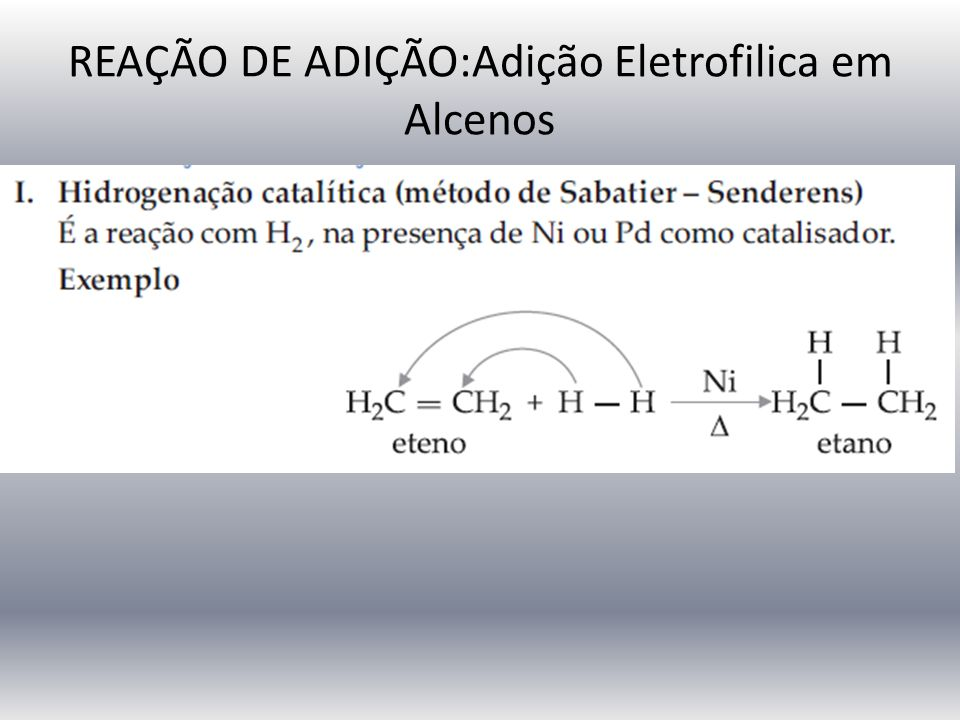 REAÇÃO DE ADIÇÃO:Adição Eletrofilica em Alcenos